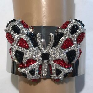Jewelry - Butterfly cuff bracelet stainless steel & Crystals